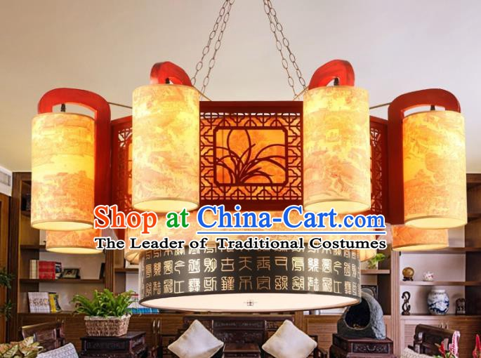 Chinese Handmade Eight-Lights Hanging Lantern Traditional Palace Wood Ceiling Lamp Ancient Lanterns