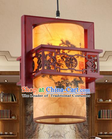 Chinese Handmade Hanging Lantern Traditional Palace Printing Parchment Ceiling Lamp Ancient Lanterns