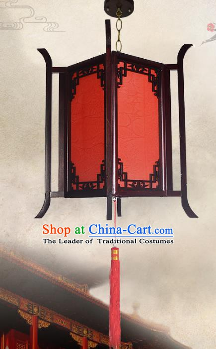 Chinese Handmade Red Wood Hanging Lantern Traditional Palace Parchment Ceiling Lamp Ancient Lanterns