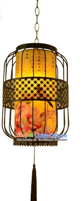 Chinese Handmade Printing Peony Iron Hanging Lantern Traditional Palace Ceiling Lamp Ancient Lanterns