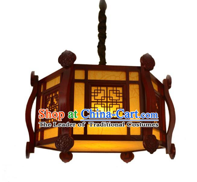 Chinese Handmade Palace Lantern Traditional Parchment Hanging Lantern Wood Ceiling Lamp Ancient Lanterns