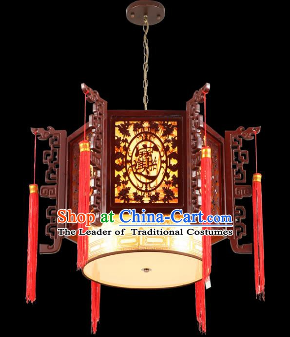 Chinese Handmade Wood Pierced Lantern Traditional Palace Ceiling Lamp Ancient Lanterns