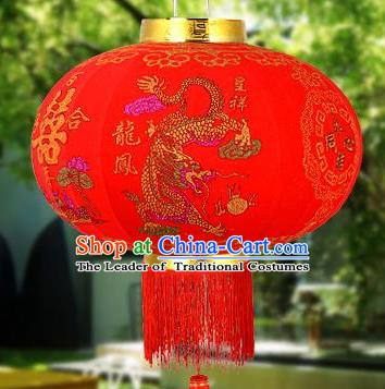 Chinese Handmade Dragon and Phoenix Palace Lanterns Traditional New Year Large Red Hanging Lantern