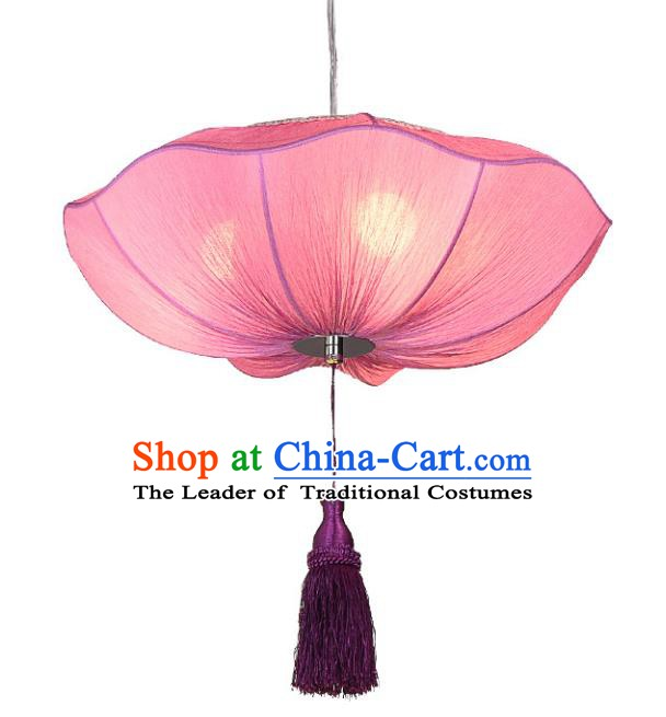 Chinese Classical Handmade Palace Lanterns Traditional Pink Lotus Hanging Lantern Ancient Ceiling Lamp