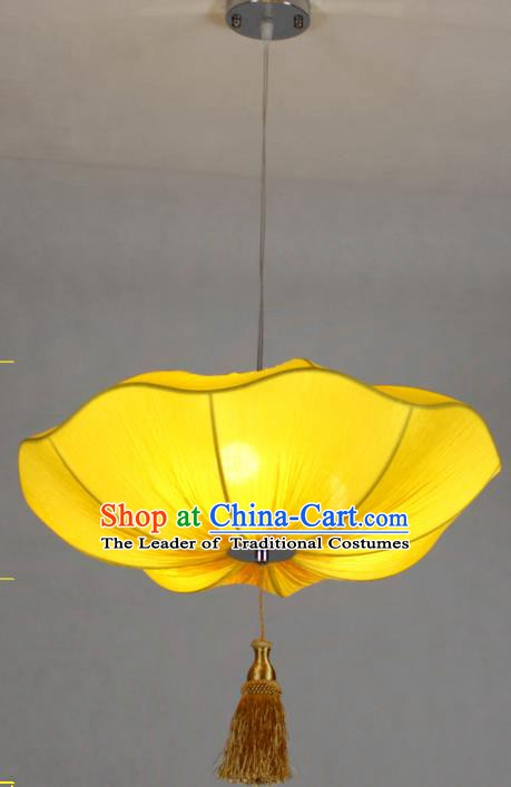 Chinese Classical Handmade Palace Lanterns Traditional Yellow Lotus Hanging Lantern Ancient Ceiling Lamp