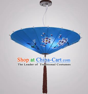 Chinese Classical Handmade Printing Umbrella Palace Lanterns Traditional Blue Hanging Lantern Ancient Ceiling Lamp