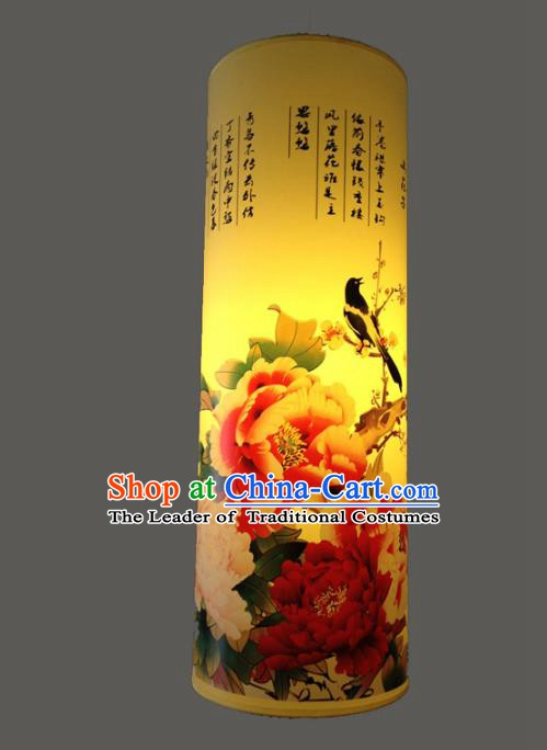 Chinese Classical Handmade Palace Lanterns Traditional Printing Peony Birds Hanging Lantern Ancient Ceiling Lamp