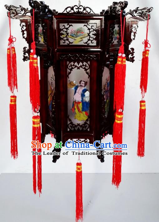 Chinese Ancient Handmade Dragon Head Palace Lanterns Traditional New Year Hanging Lantern