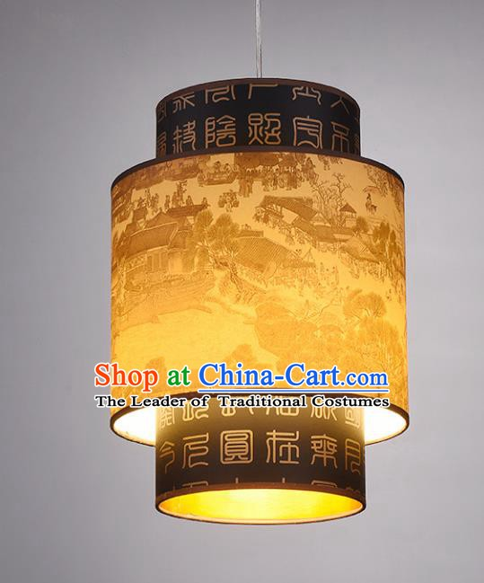 Chinese Classical Handmade Printing Parchment Palace Lanterns Traditional Hanging Lantern Ancient Ceiling Lamp