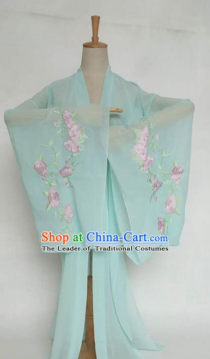 China Tang Dynasty Palace Lady Costume Ancient Princess Embroidered Peony Green Cardigan for Women