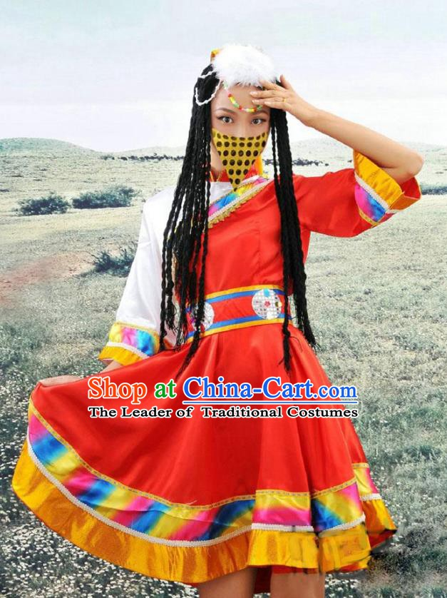 Traditional Chinese Mongols Minority Nationality Costume Mongolian Folk Dance Red Dress for Women