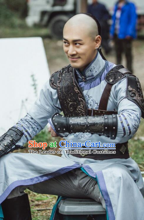 Chinese Qing Dynasty Emperor Hong Taiji Historical Costume China Ancient Manchu Warrior Armour Clothing