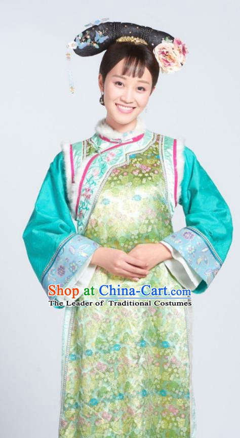 Chinese Ancient Qing Dynasty Manchu Zhenhuan Court Maid Embroidered Historical Costume for Women
