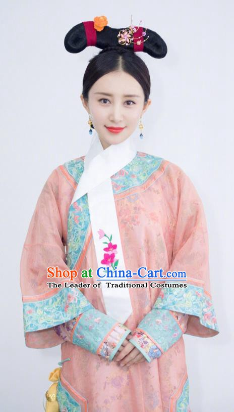 Chinese Ancient Qing Dynasty Manchu Empress Xiao Xian Embroidered Historical Costume for Women