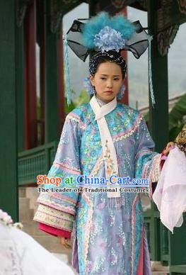 Chinese Qing Dynasty Imperial Concubine of Xianfeng Historical Costume Ancient Manchu Lady Clothing for Women