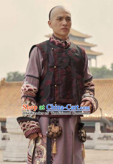 Chinese Qing Dynasty Nine Prince of Kangxi Historical Costume Ancient Manchu Nobility Childe Clothing for Men