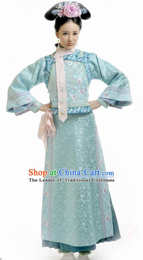 Chinese Qing Dynasty Palace Princess Mingyu Historical Costume Ancient Manchu Lady Clothing for Women
