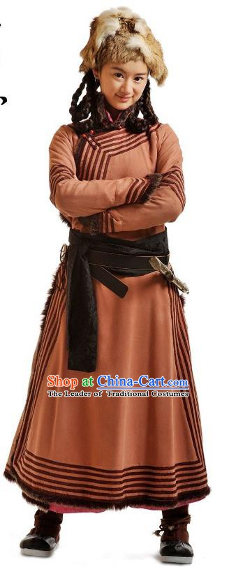 Chinese Qing Dynasty Mongolian Princess Historical Costume Ancient Palace Lady Clothing for Women