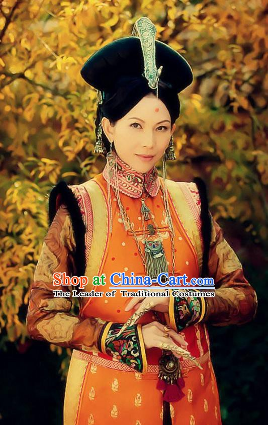 Ancient Chinese Qing Dynasty Manchu Empress Xiaoduanwen Embroidered Historical Costume for Women