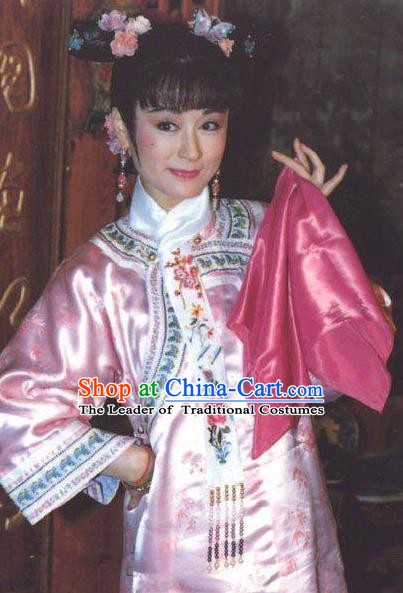 Chinese Ancient Qing Dynasty Young Empress Dowager Cixi Embroidered Manchu Dress Historical Costume for Women