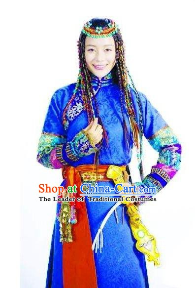 Chinese Ancient Qing Dynasty Empress Xiaozhuang YuEr Embroidered Mongolian Dress Historical Costume for Women