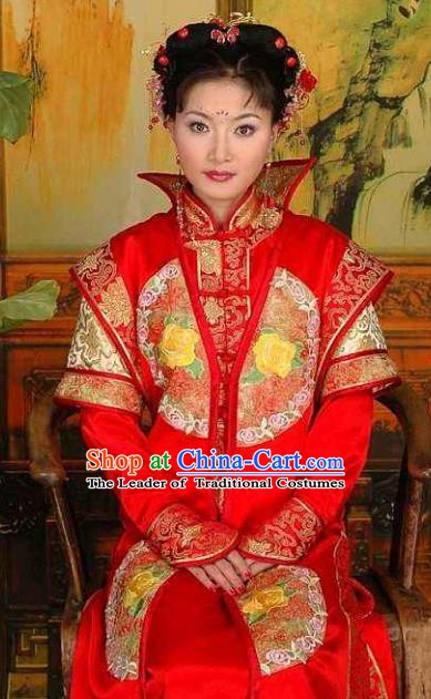 Chinese Ancient Qing Dynasty Manchu Empress Dowager Xiao Zhuang Embroidered Red Dress Historical Costume for Women