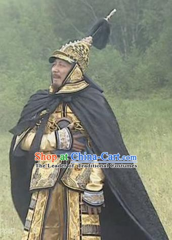Chinese Qing Dynasty Emperor Kangxi Historical Costume China Ancient Manchu King Armour Clothing