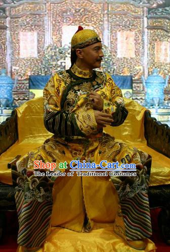 Chinese Qing Dynasty Emperor Jiaqing Historical Costume China Ancient Manchu King Clothing