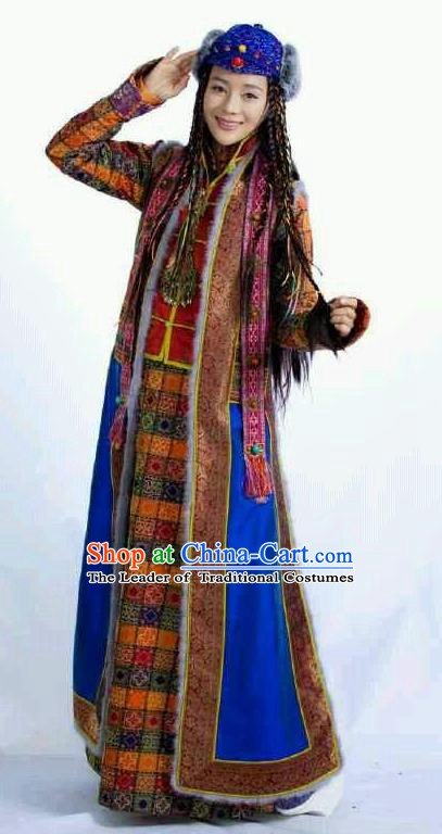 Chinese Ancient Qing Dynasty Mongolian Historical Costume Princess Embroidered Dress for Women