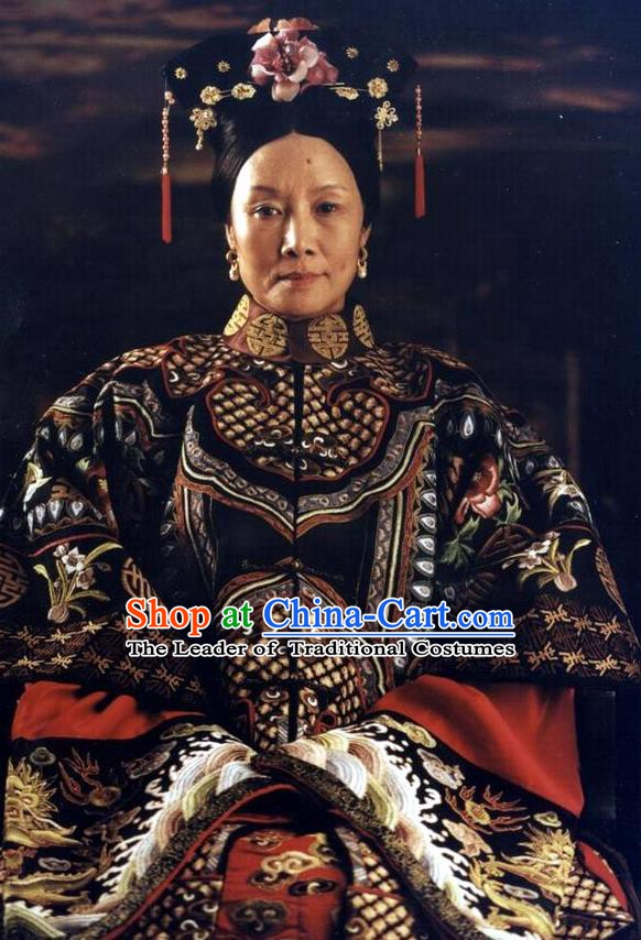 Chinese Qing Dynasty Empress Cixi Historical Costume Ancient Manchu Queen of Xianfeng Clothing for Women