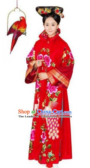 Chinese Qing Dynasty Manchu Imperial Consort of Yongzheng Red Historical Costume Ancient Palace Lady Clothing for Women