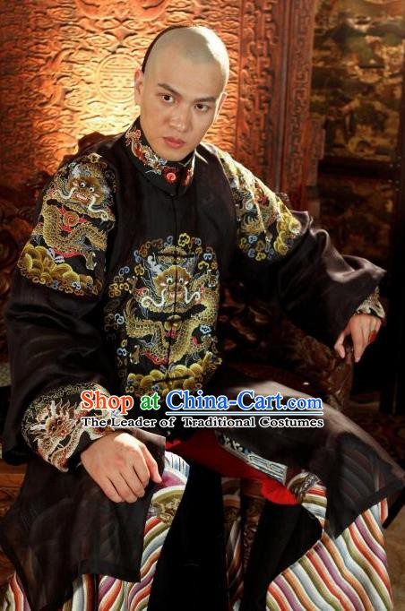 Chinese Qing Dynasty Nine Prince Historical Costume Ancient Manchu Royal Highness Yintang Clothing for Men