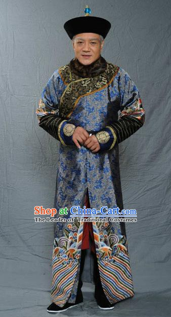 Chinese Qing Dynasty Court Eunuch Historical Costume Ancient Manchu Robe Clothing for Men