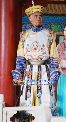 Chinese Qing Dynasty Emperor Kangxi Historical Costume Ancient Manchu King Kang Xi Clothing for Men