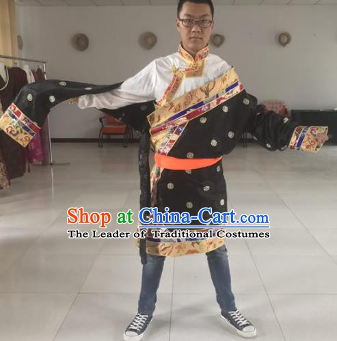 Traditional Chinese Zang Nationality Costume, Tibetan Ethnic Minority Kang-pa Tibetan Robe for Men