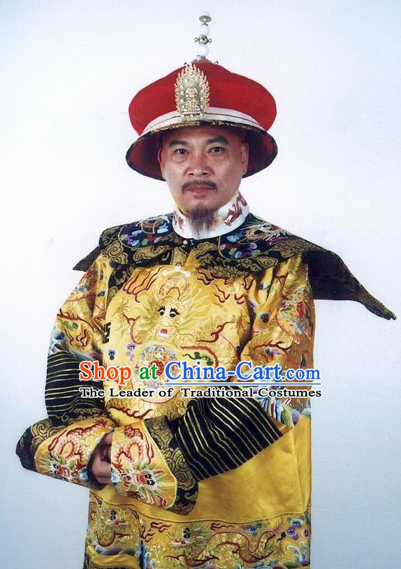 Chinese Qing Dynasty Emperor Qianlong Historical Costume Ancient Manchu King Clothing for Men