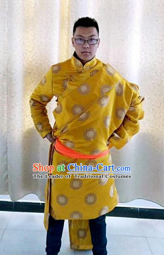 Traditional Chinese Zang Nationality Costume, Tibetan Ethnic Minority Kang-pa Yellow Tibetan Robe for Men