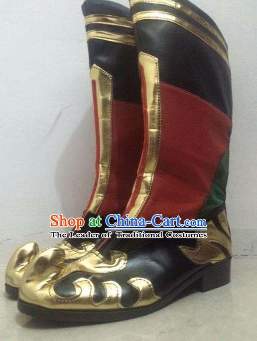 Traditional Chinese Zang Nationality Dance Shoes, Tibetan Ethnic Minority Boots for Men