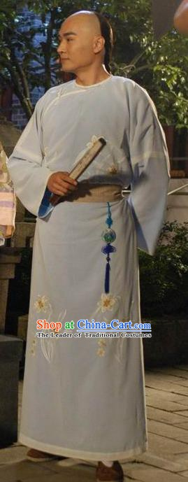 Chinese Qing Dynasty Painter Zheng Banqiao Historical Costume Ancient Poet Long Robe Clothing for Men
