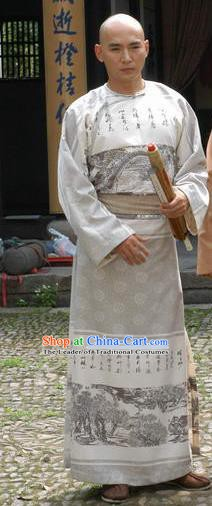Chinese Qing Dynasty Painter Zheng Banqiao Historical Costume Ancient Calligrapher Robe Clothing for Men