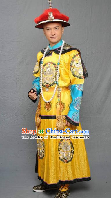Chinese Qing Dynasty Qianlong Emperor Historical Costume Ancient Manchu King Robe Clothing for Men
