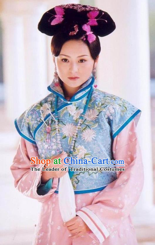 Chinese Ancient Qing Dynasty Princess of Kangxi Manchu Dress Historical Costume for Women