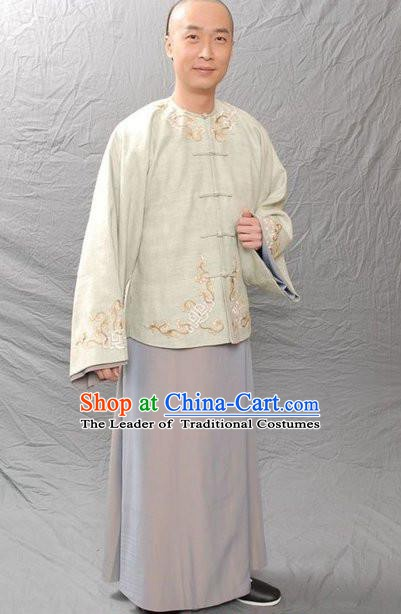 Chinese Qing Dynasty Author Pu Songling Historical Costume Ancient Writer Clothing for Men