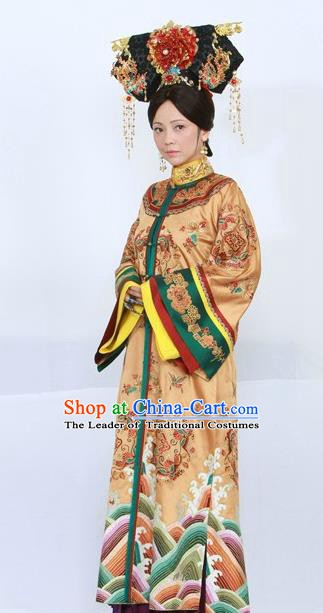 Chinese Ancient Qing Dynasty Empress of Qianlong Replica Costumes Manchu Queen Dress Historical Costume for Women