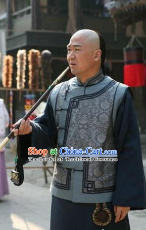Chinese Qing Dynasty Ji Xiaolan Historical Costume Ancient Grand Secretariat Clothing for Men