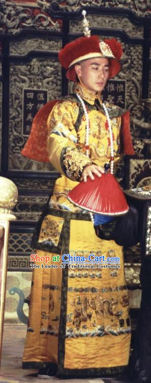 Chinese Qing Dynasty Emperor Kangxi Historical Costume Ancient Manchu King Xuanye Clothing for Men