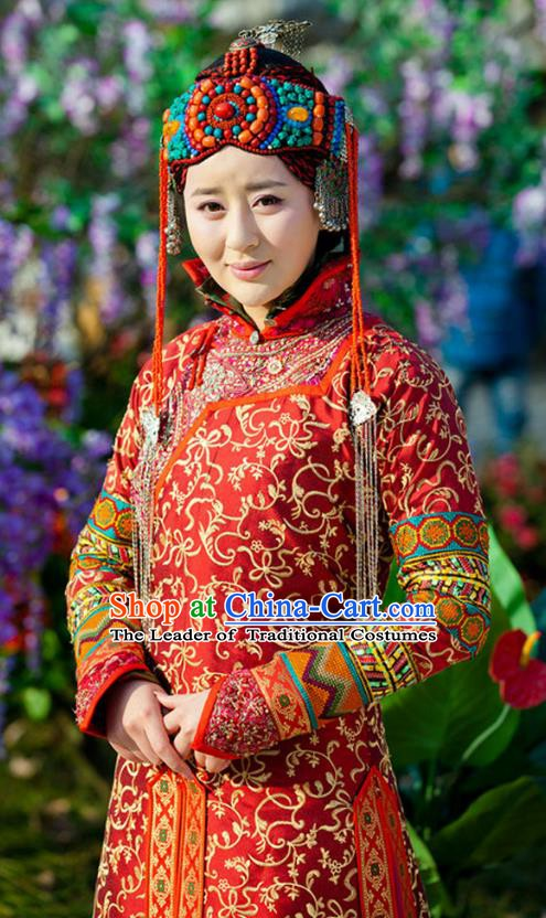 Chinese Qing Dynasty Mongolian Princess Historical Costume Ancient Manchu Empress of Shunzhi Clothing for Women