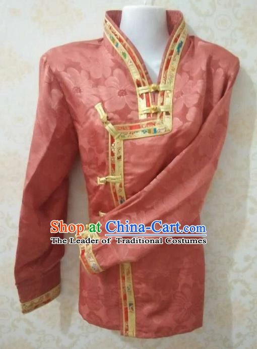 Chinese Tibetan Nationality Costume Red Blouse, Traditional Zang Ethnic Minority Shirts for Women