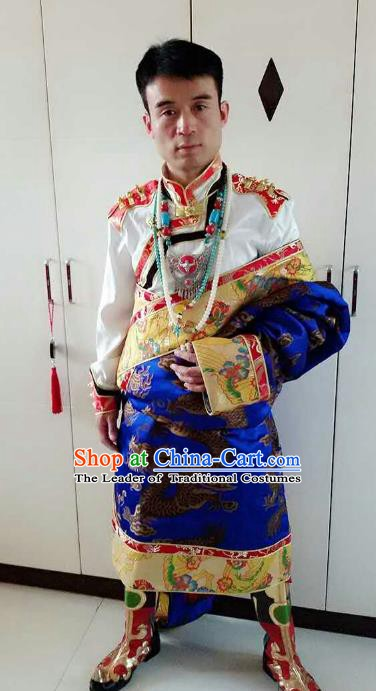 Traditional Chinese Zang Nationality Costume, Tibetan Ethnic Minority Royalblue Tibetan Robe for Men