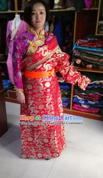 Chinese Tibetan Nationality Costume Red Robe, Traditional Zang Ethnic Minority Dress Clothing for Women